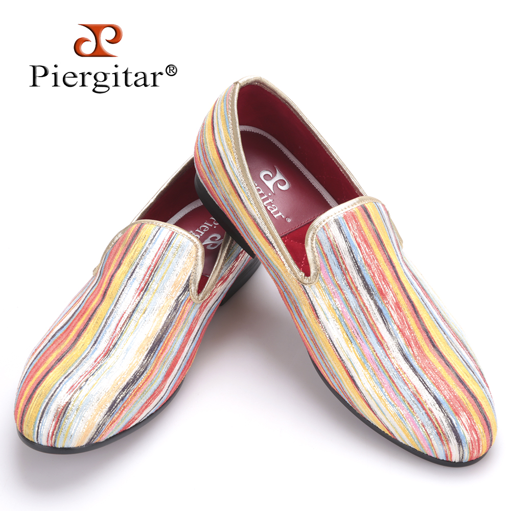 Piergitar New Fashion Mixed colors Men's casual shoes Men Smoking Slippers Plus Size Loafers Men Flats Size US 4-17 Freeshipping new fashion men striped cotton fabric shoes men plus size party and banquet loafers smoking slippers men s casual shoe us 4 17