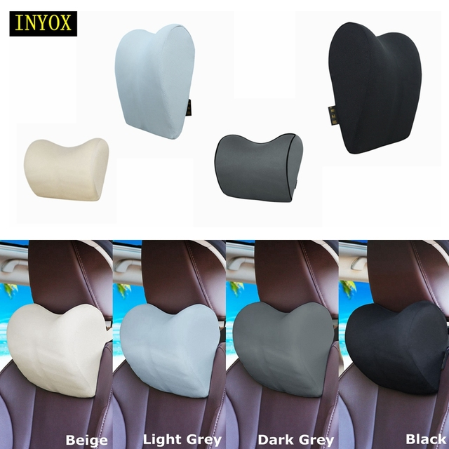 1PCS Car Headrest Neck Pillow for seat chair in auto Memory Foam cotton mesh cushion Fabric Cover soft Head rest travel support