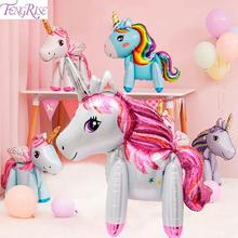 FENGRISE Birthday Party Decorations Kids Ballons Rainbow Unicorn Balloon Globo Unicornio Baby Shower Animal Baloons Favors