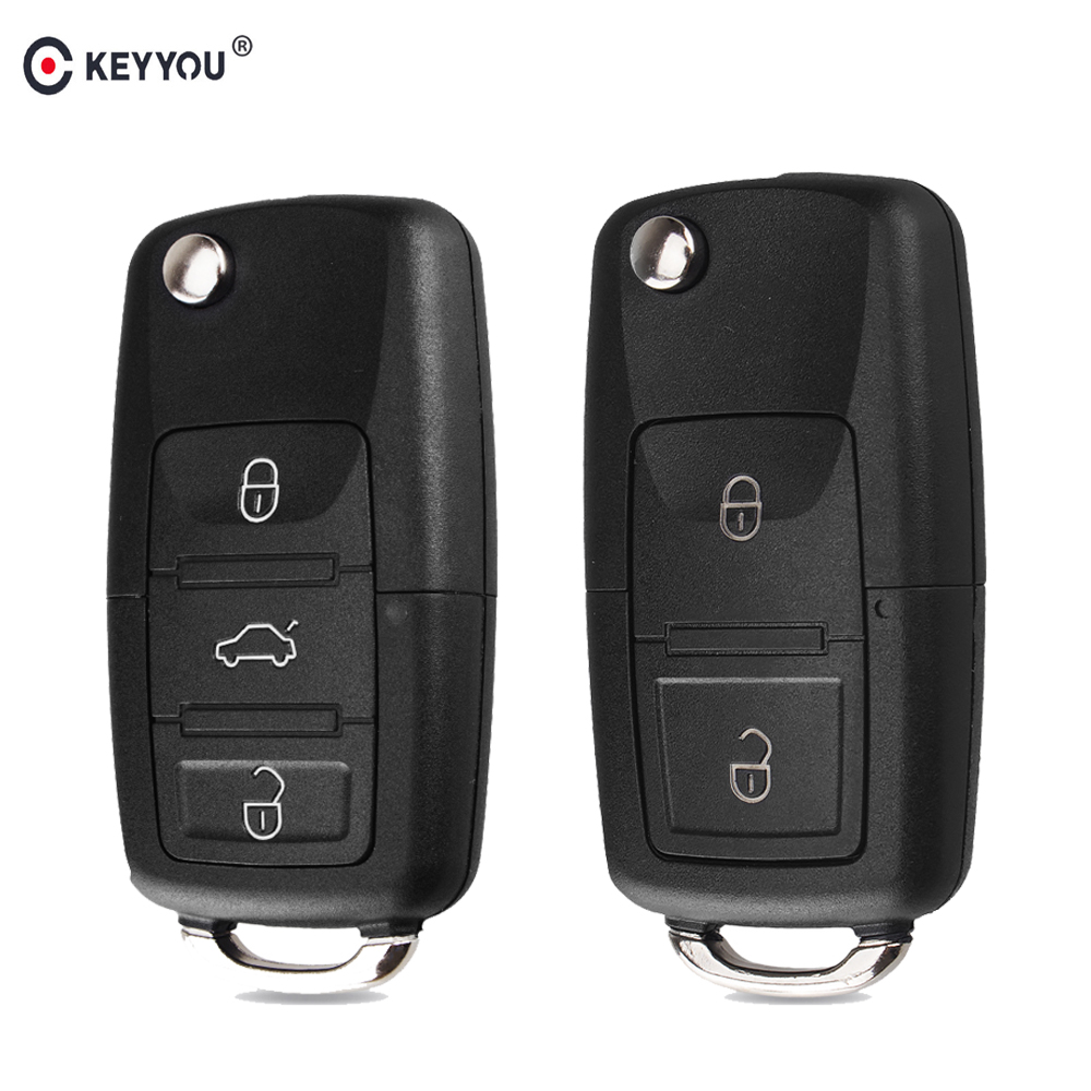 KEYYOU 2 buttons Folding Car Key Remote Key Flip Folding Key Shell Case Fob For Volkswagen Vw Jetta Golf Passat Beetle No Blade(China)