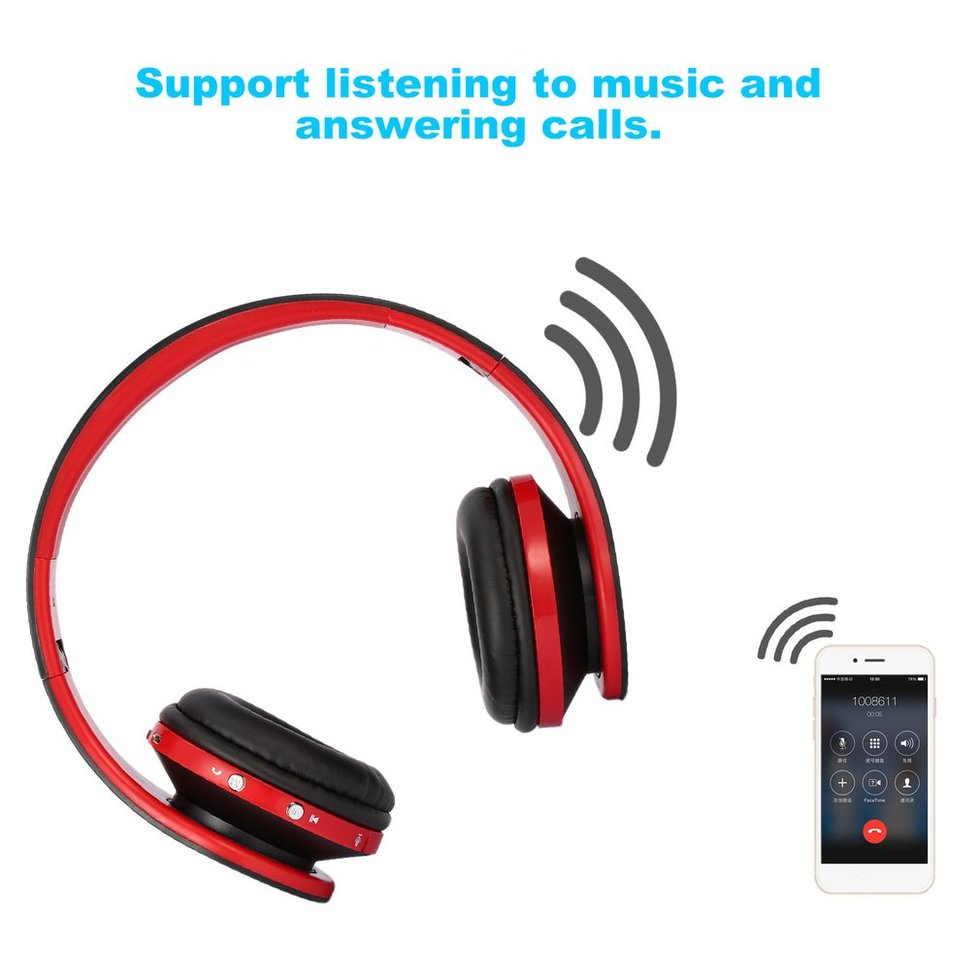 5PCS Foldable Stereo Bluetooth Headset Wireless Bluetooth Headphones With Mic Earphone For iPhone Cellphone Samsung Xiaomi car covers stainless steel rear bumper protector sill scuff plate door sill fit for 2012 2017 volkswagen sharan car styling