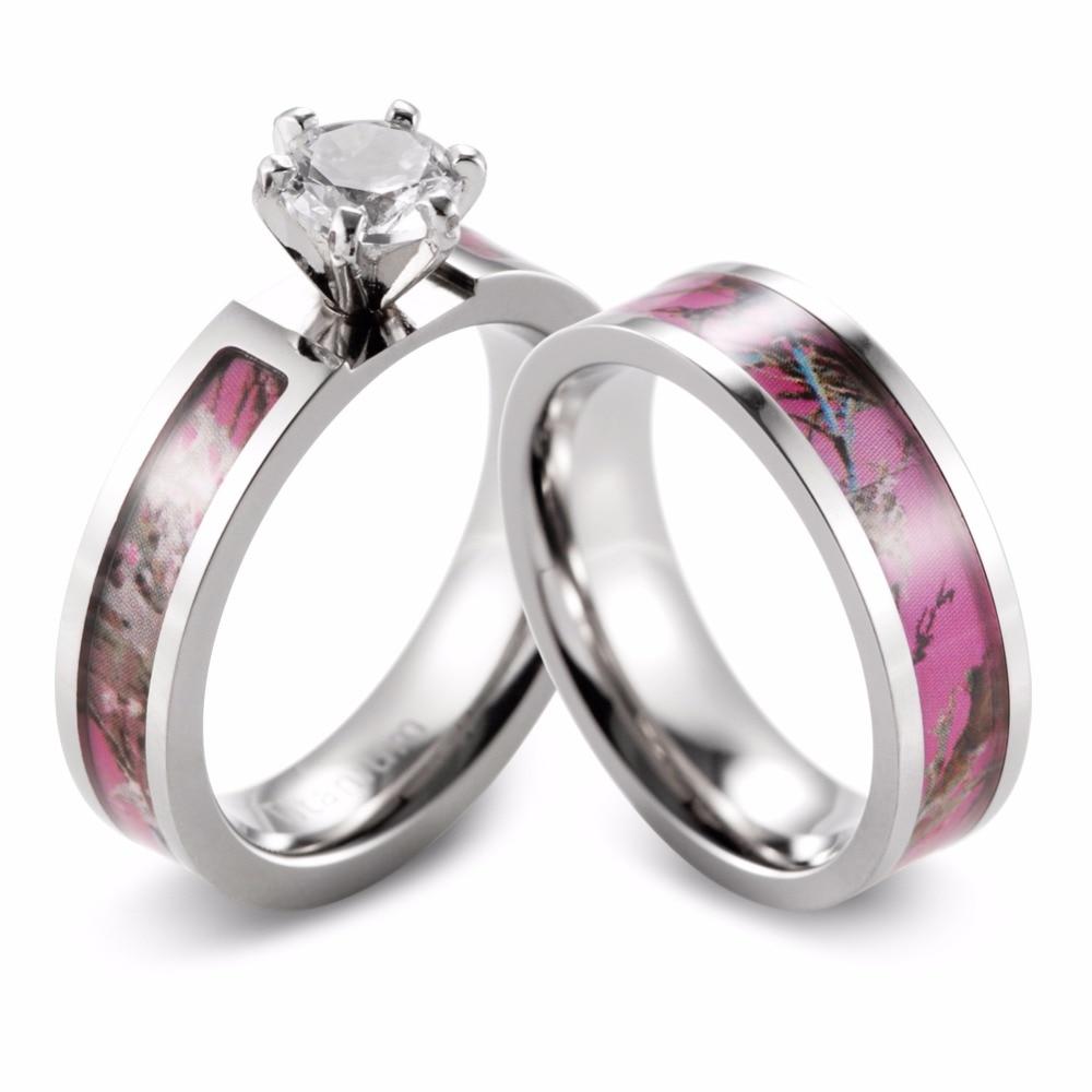 camoringsdirect pink camo wedding rings Kings Pink Camo Wedding Ring with Polished Finish and Triple Diamond Set