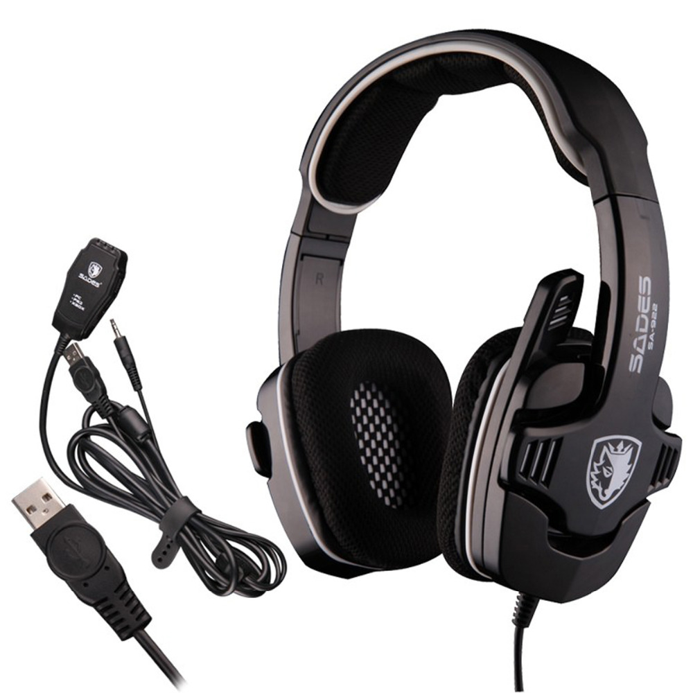 3 In 1 SADES SA-922 7.1 Stereo Bass Gaming Headset Headphone Fone De Ouvido for PC/PS3/XBOX Gamer Player Pro Gamer Earphone +Mic new wired gaming headset stereo headphone bass earphone with mic for pc computer gamer mp3 player audio