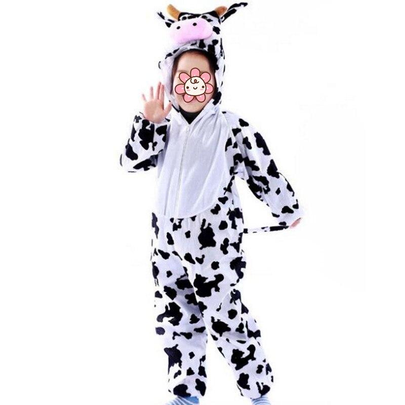 2018 Boy Girls Kids Animal Milk Cattle Costume Children Performance Cosplay Jumpsuits Costume Carnival Party Dress Decor