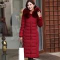 Hot2015 Plus Size mulheres roupas 5XL gola de pele com capuz jaqueta de inverno Quente mulheres De Longo Outerwear Engrossar Parkas Jaqueta TT133