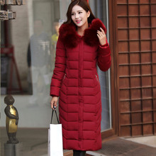 Hot2015 Plus size women clothing 5XL fur collar hooded Warm winter jacket women Long Outerwear Thicken