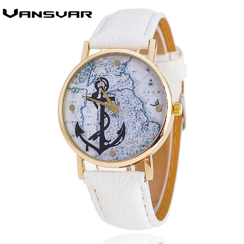 Vansvar Fashion Luxury Brand Quartz Watch Women Casual Anchor Watch Leather Strap Dress Clock Wristwatch Relogio Feminino 1827 miler vintage fashion watch women retro leather strap world map casual quartz wristwatch ladies creative clock relogio feminino