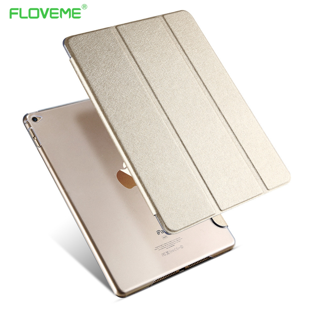 FLOVEME Case for iPad Air 2 air2,Color PU Leather Silk Transparent Back Ultra Slim Trifold Smart Cover Case for Apple iPad 6