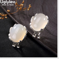 Uglyless Real S 990 Fine Silver Natural Chalcedony Women Oval Studs Earrings Handmade Peacock Brincos Bijoux Ethnic Fine Jewelry