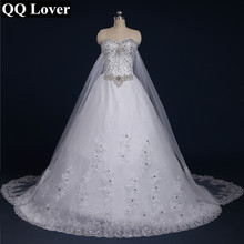QQ Lover 2017 New Bandage Tube Top Crystal Lace Luxury Wedding Dress Custom Made Bridal Dress Gown Vestido De  Noiva
