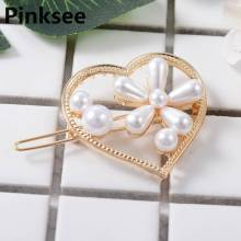 2019 HOT Fashion Women Pearl Hair Clip Snap Hair Barrette Heart Geometric Hairpin Hair Styling Accessories For Girls Drop ship ubuhle fashion women full pearl hair clip girls hair barrette hairpin hair elegant design sweet hair jewelry accessories 2019