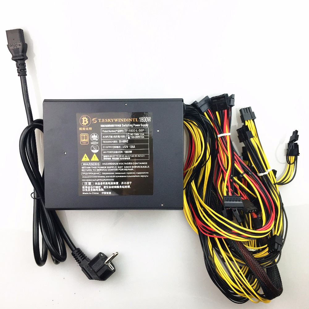 1800w PC Power Supply for Bitcoin Miner Mining Machine Psu For ETH ETC Monero Zcash Monero Zcash BTC Support 8 GPU BTC Mining