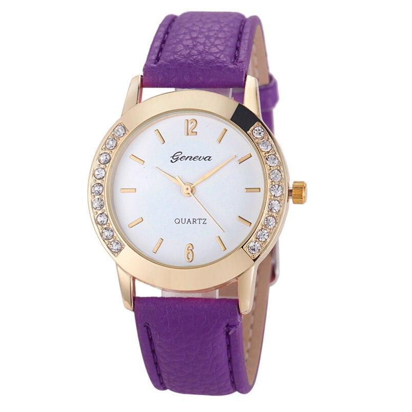 Excellent Quality Newest Watches Women Diamond Crystal Analog Quartz Wristwatch Rhinestone Lady Dress Leather Reloj Relogio