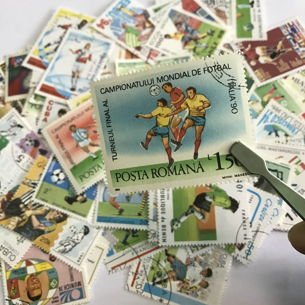 250 PCS/Lot No Repeat Football Postage Stamps With Postmark, World Cup football stamp, for Collection Gifts