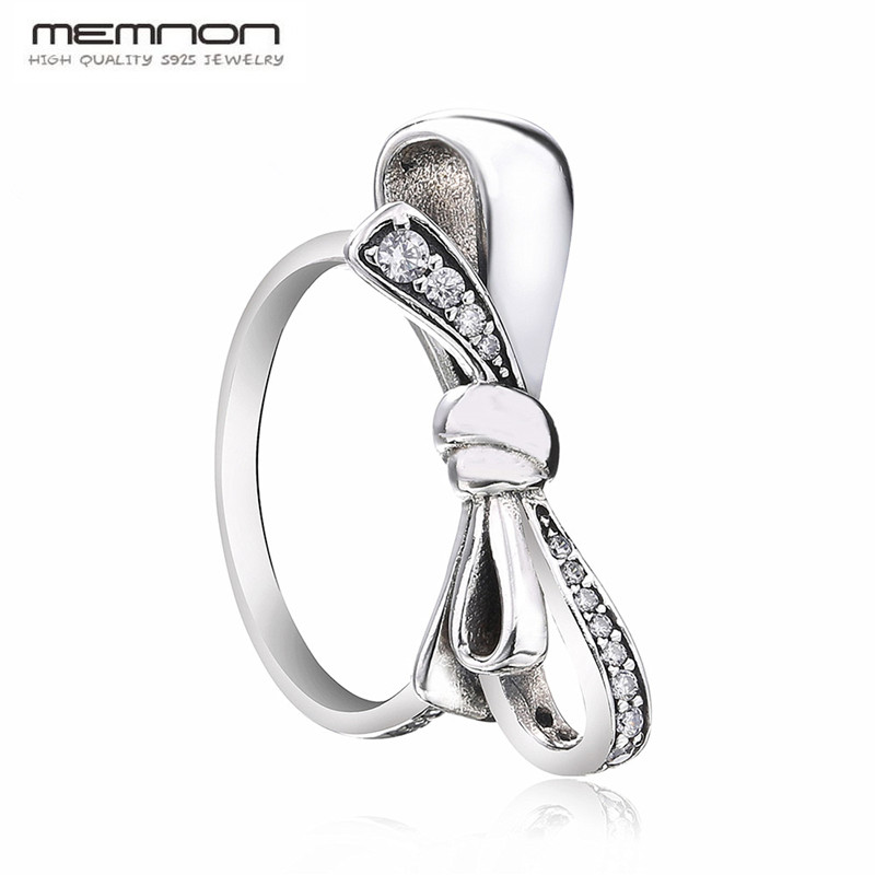 Memnon fine jewelry 2018 mother 39 s day collection silver bow rings for women anillos 925 sterling silver jewelry ring RIP7232 in Rings from Jewelry amp Accessories