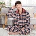 Warm winter pajama suit pijamas hombre plus size mens triple thick warm tracksuit suitXXXL quilted pajamas flannel sleepwear men