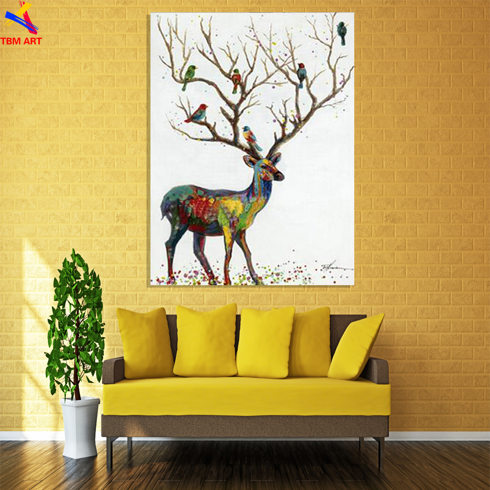 Quality Elk Pic Hand Painted Modern Abstract Oil Painting On Canvas ...