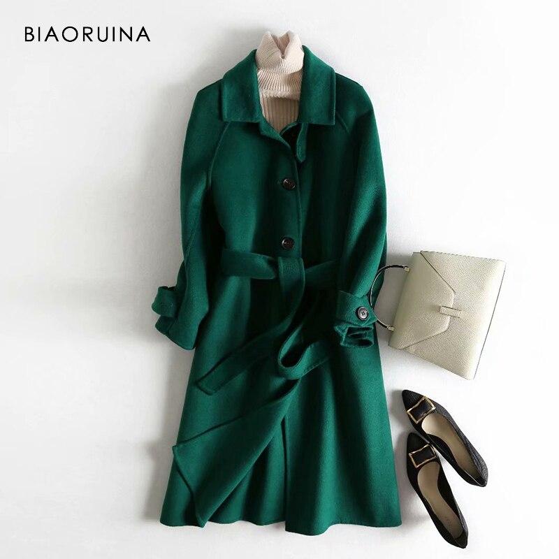 Kadın Giyim'ten Yün ve Karışımları'de BIAORUINA kadın 5 Renk 100% yün Tek Göğüslü Moda Uzun Ceket Ofis Bayan Şık Kore Tarzı Yün Palto sashes'da  Grup 3