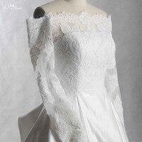 RSW423 Ivory Satin Skirt Long Sleeve Wedding Dress Off Shoulder Vestido De Noiva Princesa