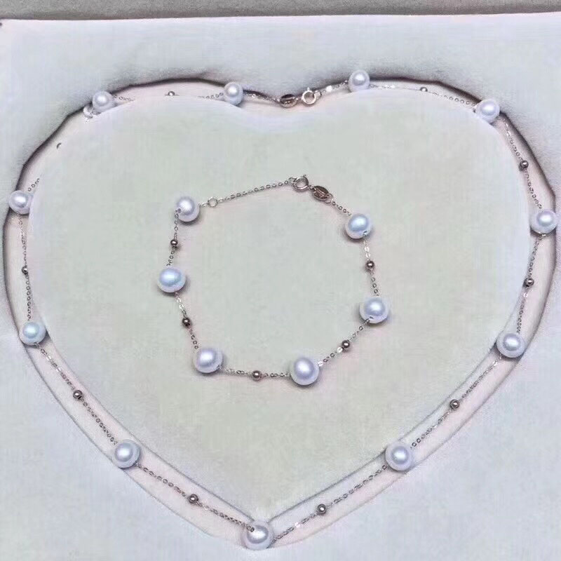 18k AU750 gold necklace bracelet jewelry set Natural pearls star family design for women Mom lover girls best gift in summer yoursfs 18k rose white gold plated letter best mum heart necklace chain best mother s day gift