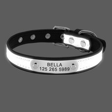 Incidere Riflettente Collare di Cane Collari di Cuoio Dell'animale Domestico Personalizzato Cat ID Tag Per Le Piccole Medie Grandi Animali Domestici Nome Tel NO. Catene Cani Regalo(China)