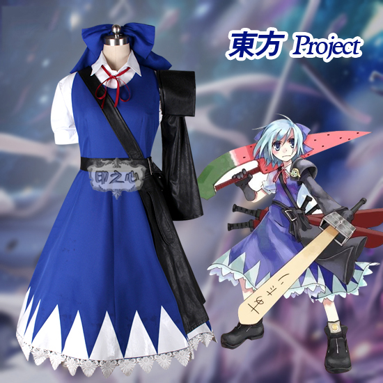 Anime! Touhou Project the Embodiment of Scarlet Devil Cirno Blue Dress Uniform Cosplay Costume Custom made Size Free Shipping