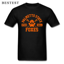 Cotton T Shirt Men Male Unisex Tshirt Palmetto State Stick Ball Foxes Orange Black T-shirt Idea Gift For Dad Custom Tops & Tees(China)