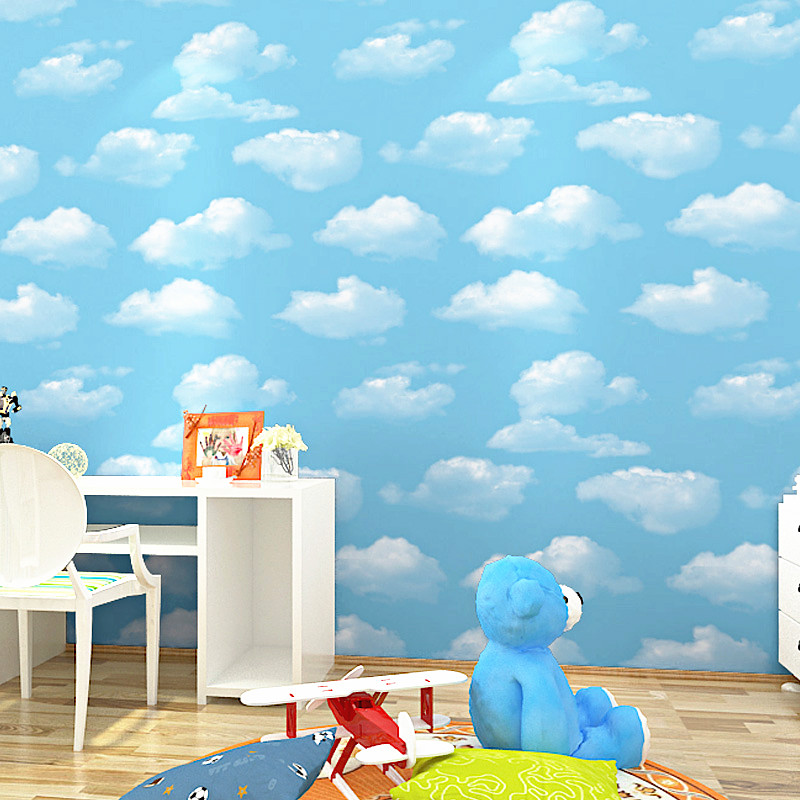 Exceptionnel Blue Sky And White Clouds Wallpaper Modern Simple Childrenu0027s Boys Bedroom  Background Wall Papers Rolls PVC Waterproof Home Decor
