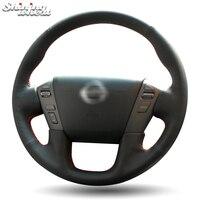 BANNIS Black Leather Steering Wheel Cover for Nissan Patrol 2011 2017 Infiniti QX80 2013 2017 Infiniti QX56 2011 2013