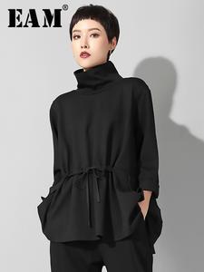 Big-Size Spring T-Shirt women Long-Sleeve Autumn EAM Fashion Pocket Black Loose JQ017