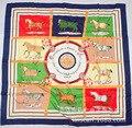 Small Love Big Wind Pattern Silk Satin Twill 130cm Horse Lady Shawl Scarf Winter H