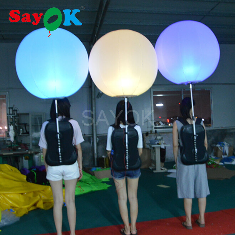 Sayok 0 8m Diameter Inflatable Backpack Balloon Walking Advertising Ball with LED Lighting for Advertising Promotions