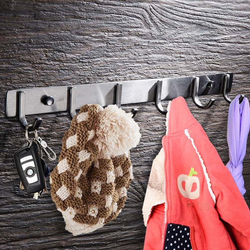WEYUU Robe Hooks Stainless steel Bathroom 3-7 Row Hooks Coat Door Hanger  Wall Mount Kitchen Bathroom Accessories