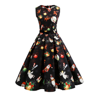 Women Christmas Pattern Vintage Dresses Sleeveless Printed Party Retro Long Dress With Sashes Female Vestidos 4