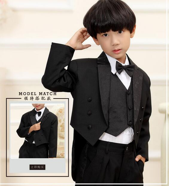9c98d00a0 Hot 2018 Fashion high quality child suit for boy black white wedding ...