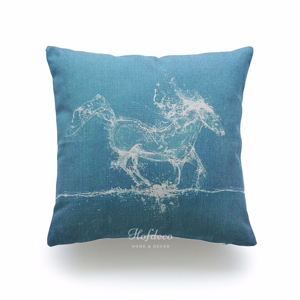 Decorative Throw Pillow Case Turquoise Teal Water Horse
