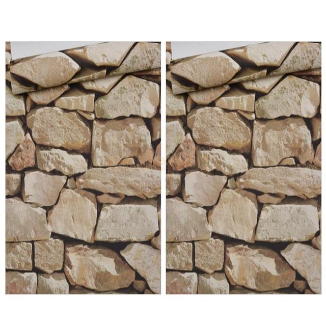 2 pieces 3d retro rocks stone wall paper wall covering paper murals decal a