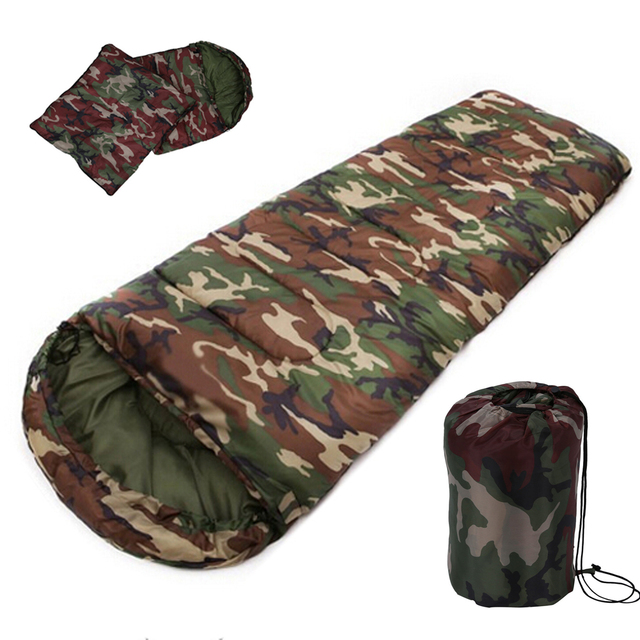 جديد بيع عالية الجودة القطن التخييم كيس النوم ، 15 ~ 5 درجة ، نمط المغلف ، الجيش أو العسكرية أو التمويه أكياس النوم