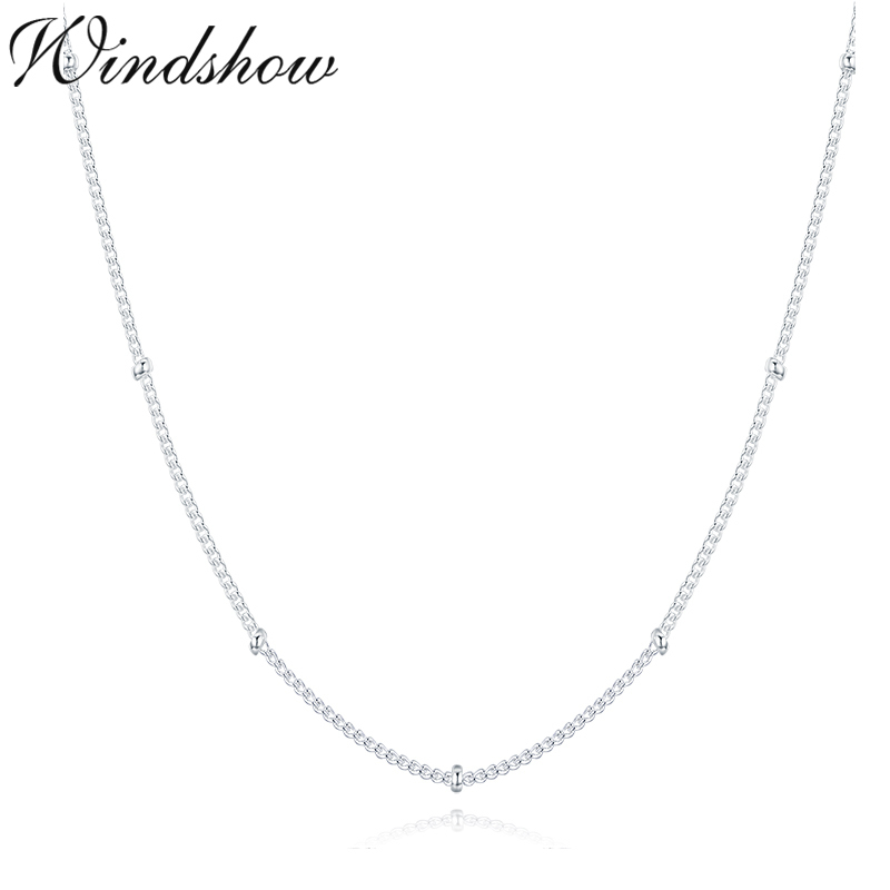 35-80cm Slim Thin Pure 925 Sterling Silver Beads Curb Chain
