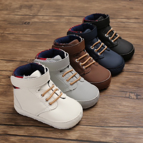 New male baby high tube cute soft bottom PU leather newborn baby first Walkers Baby Shoes child boy shoes non-slip baby shoes Lahore
