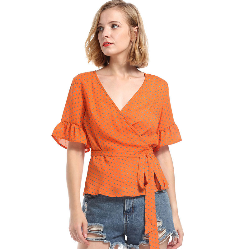 casual chiffon blouse 2018 new women tops and blouse short sleeve orange print v neck shirts sashes flare sleeve summer tops