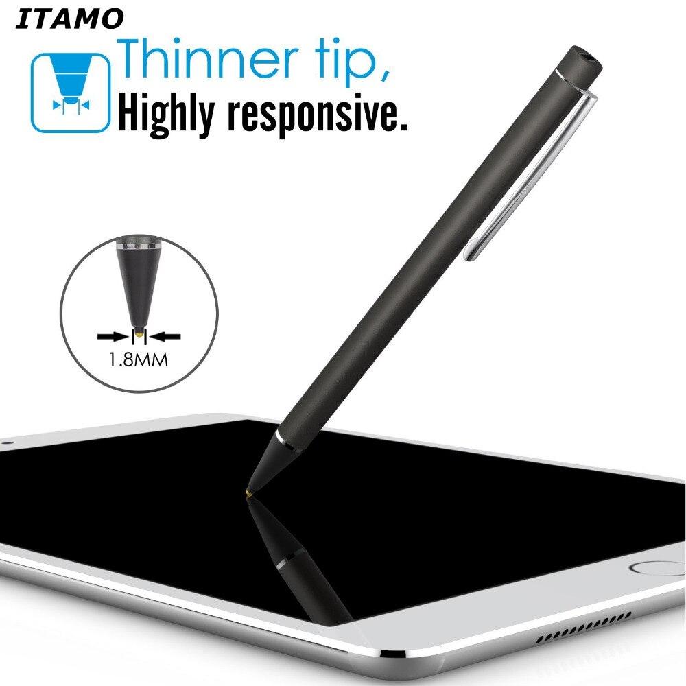 bilder für ITAMO Anerkennung Screen Stylus Stift Wiederaufladbare kapazitiven 1,8mm Dünner tip stylus für iphone IOS für Android