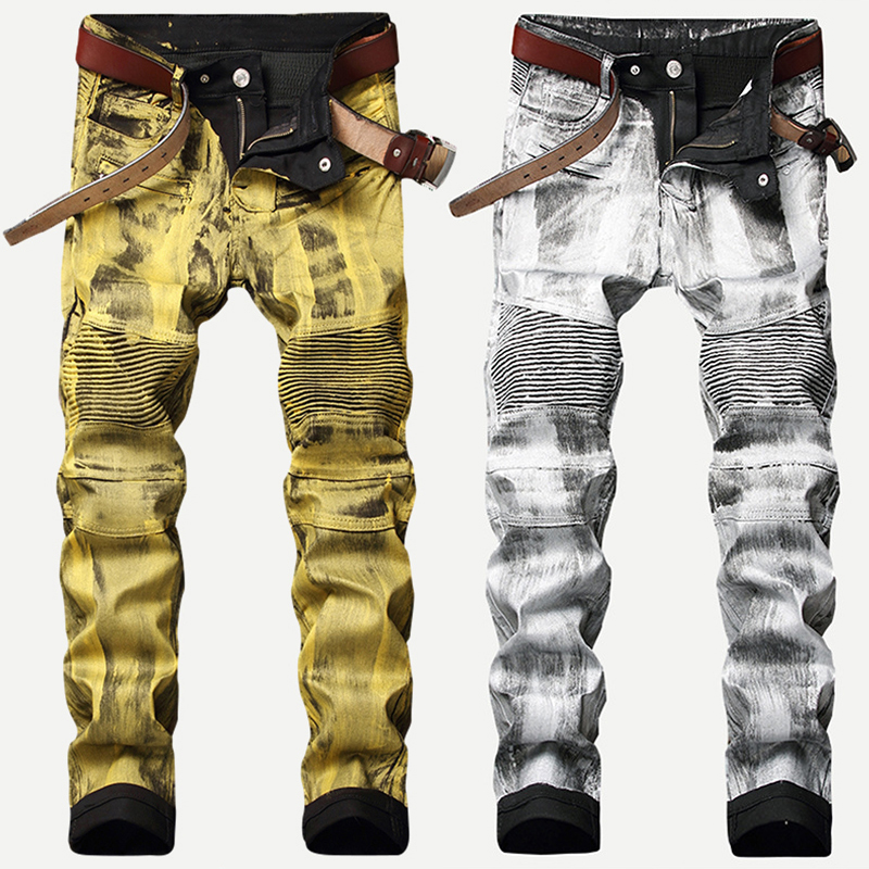 Fashion Streetwear Men Jeans Golden Silver Coating Paint Deisgner Motor Biker Jeans Homme Punk Pants Spliced Hip Hop Jeans Men