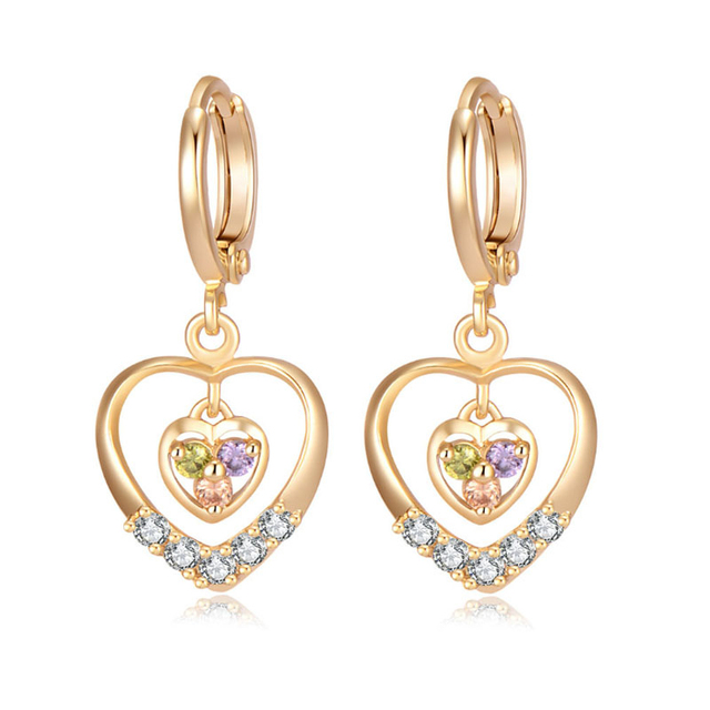 New Arrivals Multicolor Crystal Paved Heart Charms Yellow Gold Color Hoop Earrings Party Costume Jewelry Gift