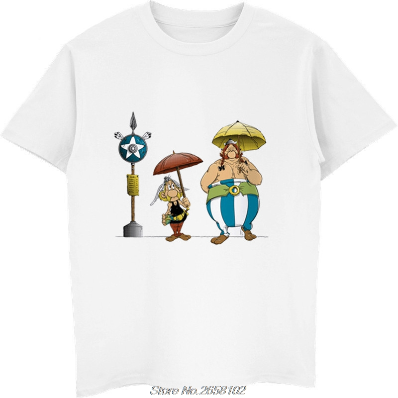 Asterix And Obelix T-Shirts Men Personalized Custom Tees Summer Short Sleeve Fitness T Shirt Harajuku Streetwear