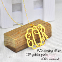 Wholesale Monogrammed Name Necklace 925 Sterling Silver Personalized Initial Jewelry Collier En Argent