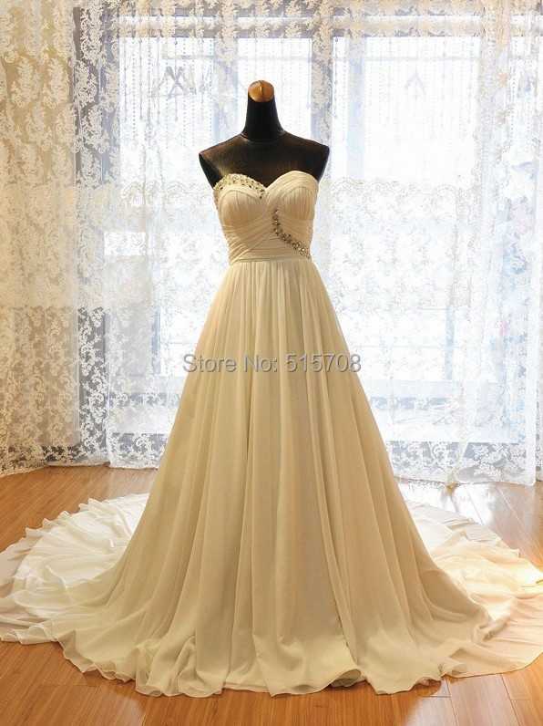 Real Picture 2016 Wedding Dresses Sweetheart Sleeveless Court Train Beach Bridal Gown Garden Wedding Dresses Church Wedding Gown image