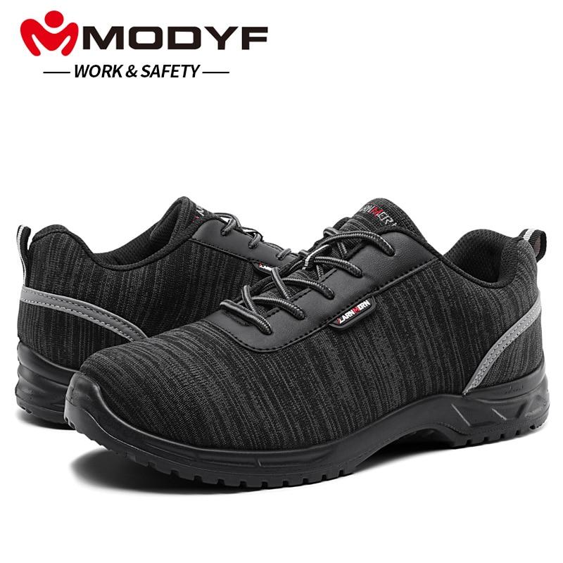MODYF Для мужчин композитный Кепки Toe работа антистатические стельки безопасная обувь Легкий дышащий материал Светоотражающие Нескользящие ...