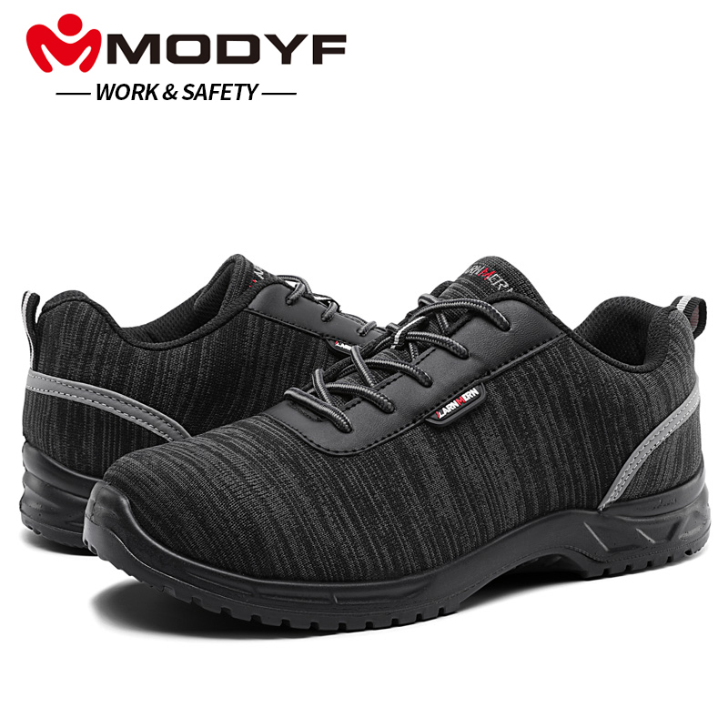 MODYF Men Composite Cap Toe Work Anti-static Insole Safety Shoes Lightweight Breathable Reflective Non-slip Casual Sneaker halinfer men s anti static non slip ankle boots outdoor steel toe cap work