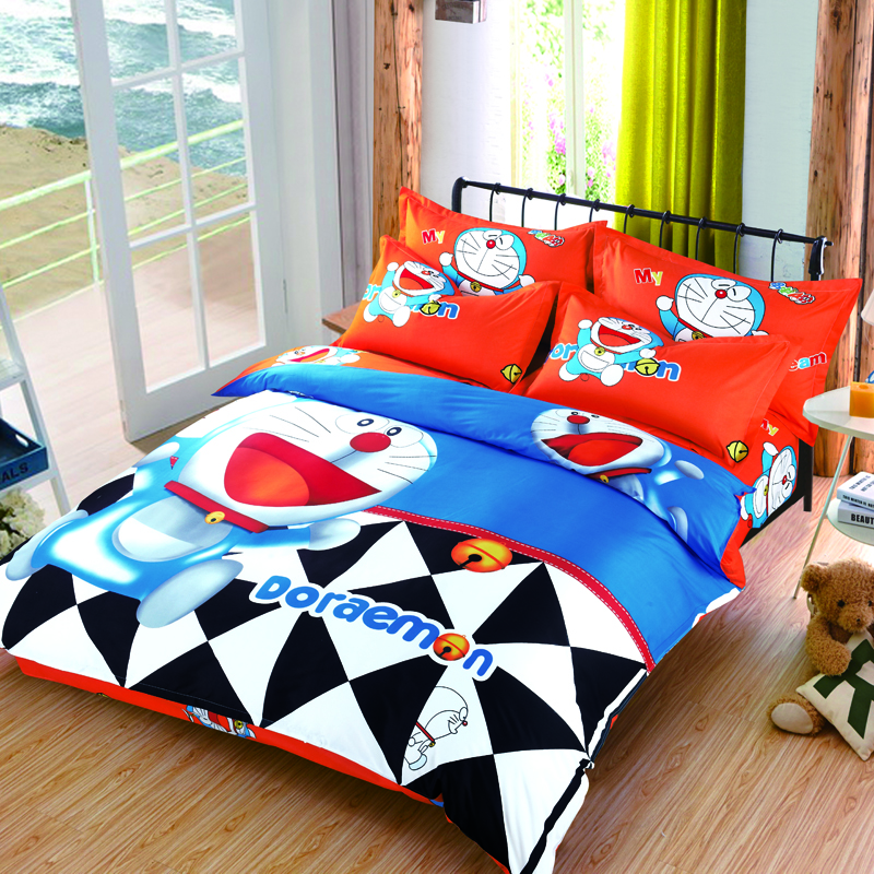 3D Doraemon Bedding Set Cotton Stitch Printed Bed Linen for Kids Gift Include Duvet Cover Bed Sheet Pillowcases Twin Full Queen